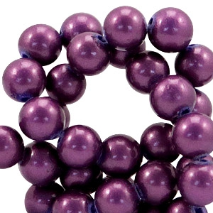 6mm glass beads with pearl coating Mauve purple