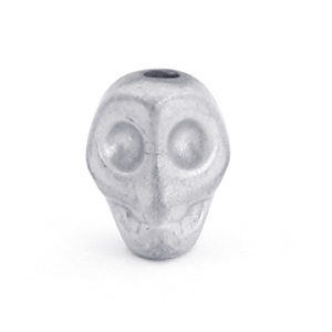 Hematite skull beads Light grey matt