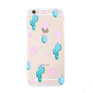 Trendy phone cases for Iphone 6 cactus & flowers Transparent-blue pink