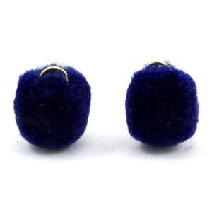 Pompom charm with eye gold 15mm Crown blue