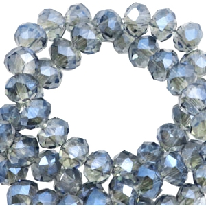 Top faceted beads 6x4mm disc Greige-montana blue diamond shine coating