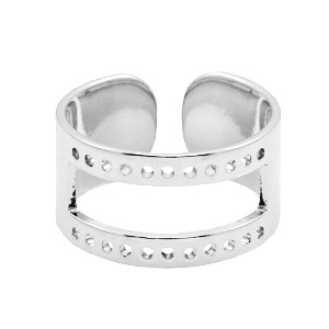 DQ metal findings base ring ( for macramé string) Silver (nickel free)
