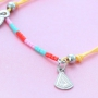Bracelets of coloured cord with cute summery charms of stainless steel
