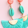 Colourful earrings with new tassels, cowrie shells and DQ European metal