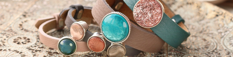 Autumn! Cuoio bracelets & Polaris Elements cabochons