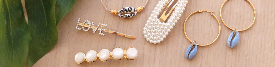 NEW: trendy hair clips and cowrie shells